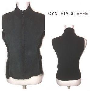 [Cynthia Steffe] Black Suede Rabbit Fur Vest